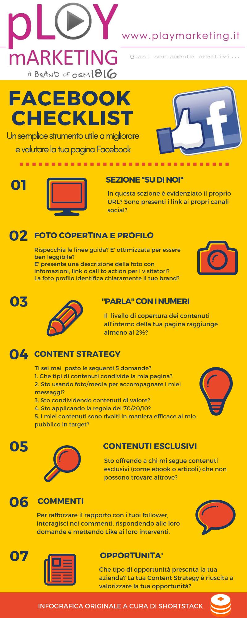 Pagina Facebook checklist